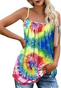JOELLYUS Tie Dye Tank Tops for Women Loose Plus Size Cami Spaghetti Strap Tunic Blouses(Colorful, M)