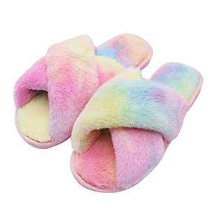 Women's Cross Band House Slippers Rainbow Color Soft Plush Fleece Non-Slip Indoor or Outdoor Memory Sole Slippers (Rainbow-Color Purple, Large)
