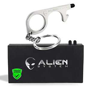 No Touch door opener tool - A must as a keychain accessories bottle opener - Works as stylus pens for touchscreens - Multitool for Travellers - No touch keychain tool - Giftable things by Alien System