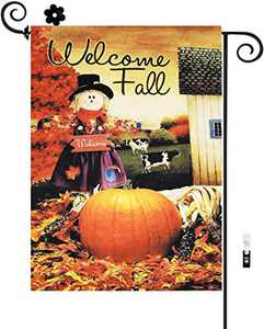 HILUCK Welcome Fall Garden Flag with Scarecrow Pumpkin Corn Cow Leaves Vertical Burlap Double Sided Flags for Rustic Farmhouse Harvest Autumn Yard Lawn Patio Outdoor Decor 12 x 18 Inch