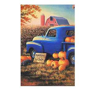 HILUCK Pumpkin Old Truck Fall Garden Flag Vertical Burlap Double Sided Flags for Rustic Farmhouse Harvest Autumn Yard Lawn Patio Outdoor Decor 12 x 18 Inch