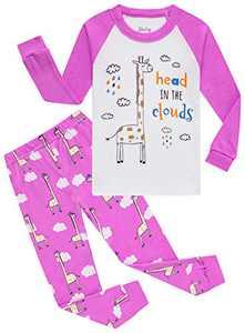 Little Girls Giraffe Pajamas Christmas Children Pyjamas Toddler Kids Sleepwear 4t