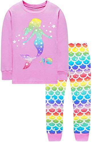 Girls Christmas Pajamas Children Cotton Mermaid Pyjamas Pants Gift Set 2t