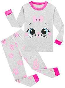 Girls Cat Pajamas Christmas Children Cotton Pyjamas Toddler Kids Long Sleeve Pants Set 5t