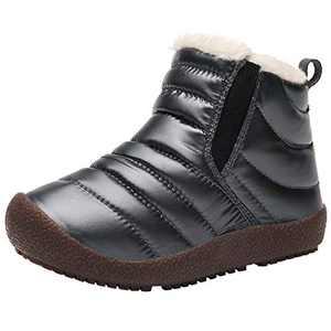 FJWYSANGU Boys Girls Warm Snow Boots Winter Shoes Plush Inner Outdoor Slip On Boots Water Repellent Gray 12.5 Little Kid
