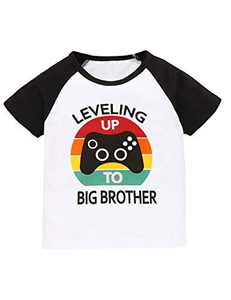 Aslaylme Little Kids Leveling Up to Big Brother T-Shirt Boys Gamers Tee (White02,6 T)