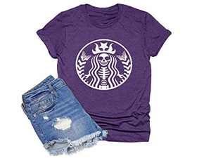 Chulianyouhuo Halloween Graphic Basic Witch Shirts for Women Funny Hocus Pocus Casual Tee Tops Purple
