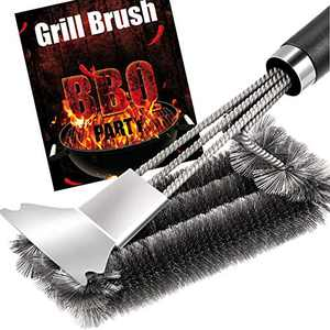 Grill Brush and Scraper - Quick Easy Safe BBQ Grill Steam Cleaning Stainless Steel Brush - Best for Weber Gas, Charcoal, Porcelain, Cast Iron, All Grilling Grates | Accessories Gift