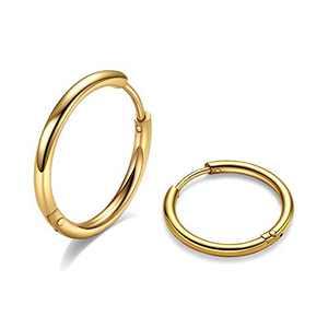 6mm Surgical Steel Hoop Earrings, Gold Huggie Earrings Mens Hoop Earrings Stainless Steel, 20G Hypoallergenic Small Hoop Earrings Huggy Hoops Cartilage Earrings for Women Girls