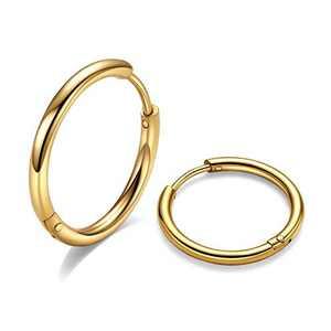 10mm Surgical Steel Hoop Earrings, Gold Huggie Hoop Earrings Men Hoop Earring Hypoallergenic, 20G Ear Huggies Sleeper Hoop Earrings for Women Sensitive Ears