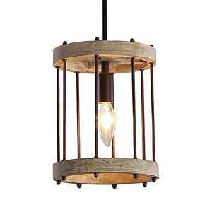 Wood and Metal Chandelier Square 1-Light Adjustable Height Ceiling Pendant Light Dining Room Lighting Fixtures Hanging,Living Room Light ,Kitchen Chandelier UL Listed