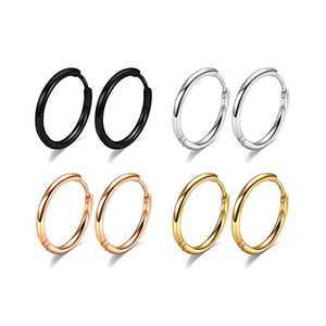 6mm Surgical Steel Hoop Earrings, 4 Pairs Hoop Earrings Men Black Gold Silver Rose Gold Huggie Earrings Set, 20G Small Hypoallergenic Sleeper Cartilage Earrings for Women Men Girls Boys
