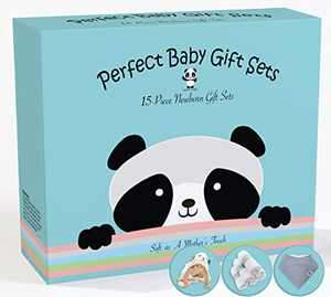 Premium 15 Piece Baby Gift Box Set - Bamboo Baby Bath Towels, Washcloths, Bandana Bibs (Neutral Design) - Baby Registry Search Essentials for Boys and Girls