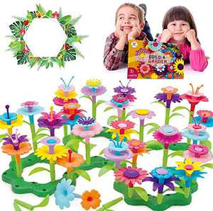 Vinciph Flower Garden Building Outdoor Toys for Toddlers Kid Age 3,4,5,6,7 Old,Creative DIY Build a Bouquet Sets for Girls Ideal Christmas Birthday Gifts(109+12 PCS)