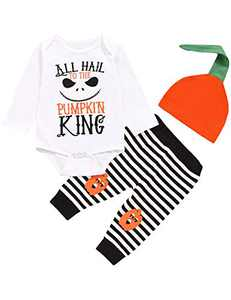 TrulyBee Baby Boys Halloween Costume Outfit Set Pumpkin King Bodysuit Baby Birthday Long Sleeve Pant Set (White, 3-6 Months)