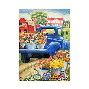 HILUCK Patriotic Floral Old Truck Garden Flags Flowers,Lively Yard Falgs, Vertical Double Sided Boutique Burlap Decorative Banners, Double Sided Vibrant Decor for Patio Lawn and Backyard, 12 x 18 Inch