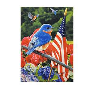 HILUCK Patriotic Floral Bird Garden Flags, Rural Style With America National Flags, Wildflower Vibrant Yard Flags, Vertical Double Sided Decorative Banners Decor 12 x 18 Inch
