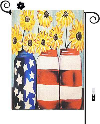 HILUCK Patriotic Floral Garden Flags, Sunflowers Vase Wildflower Pail Vibrant Yard Flags, Vertical Double Sided Decorative Banners Decor for Harvest Patio Lawn and Backyard, 12 x 18 Inch