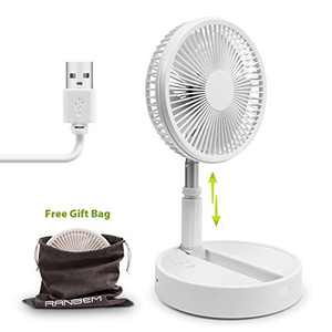 "Foldaway Rechargeable Standing Fan 8"" Battery Operated Desk Fan (White color fan)"