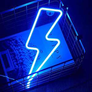Lightning Shaped Blue Neon Signs, DYC LED Neon Lights USB/Battery Operated Night Light for Wall Decoration,Party, Kids Room,Bar,Christmas,Wedding,Children Kids Gifts.