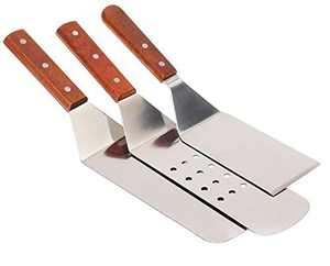 Stainless Steel Metal Spatula Burger Turner Spatula,Solid Cooking Spatula,Perforated Cooking Spatula and Griddle Spatula,Hamburger Turner with wooden handle for Barbecue, Steak, Pizza