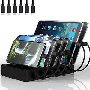 Charging Station for Multiple Devices, MSTJRY 6 Port USB Charging Station Docking Compatible with iPhone iPad Airpod Cell Phone Tablets (Black, 6 Cables Included)