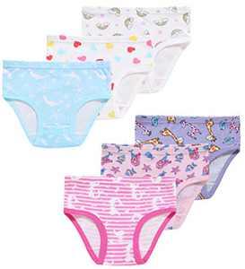 Girls Giraffe Underwear Christmas Toddler Kids Cotton Panties Cute Briefs(Pack of 6) 2T