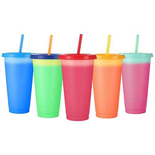 Sursip Plastic Tumblers with Lids & Straws 24oz - 5 Pack Reusable Party Drinking Cup BPA free Cold Coffee Tumbler   Color Changing Cups for Kids & Adults