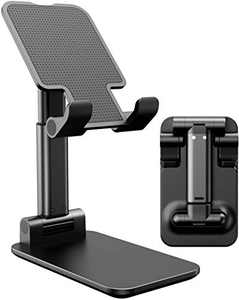 Cell Phone Stand, Angle Height Adjustable Cell Phone Stand for Desk, Fully Foldable Phone Holder, Tablet Stand, Case Friendly Compatible with All Mobile Phone/iPad/Kindle/Tablet (Black)