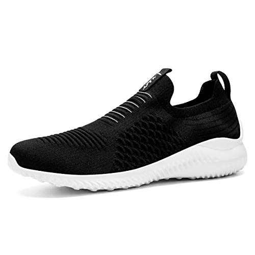Lxso Women's Men's Walking Shoes Casual Athletic Socks Mesh Breathable Gym Sports Running Sneakers Shoes Black/White