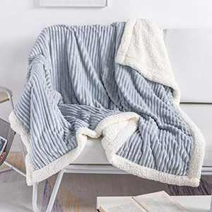 """DISSA Sherpa Fleece Blanket Throw Blanket Soft Blanket Plush Fluffy Blanket Warm Cozy with Pure Grey Strip Perfect Throw for All Seasons for Couch Bed Sofa (Pure Grey, 60""""x80"""")"""
