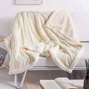 """DISSA Sherpa Fleece Blanket Throw Blanket Soft Blanket Plush Fluffy Blanket Warm Cozy with Pure Beige Strip Perfect Throw for All Seasons for Couch Bed Sofa (Pure Beige, 51""""x63"""")"""