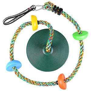 Funlove Climbing Rope Tree Swing with Platforms and Disc Swings Seat - Playground Swing Set Accessories Outdoor for Kids - Trees House Tire Saucer Swing Outside Playset Toys