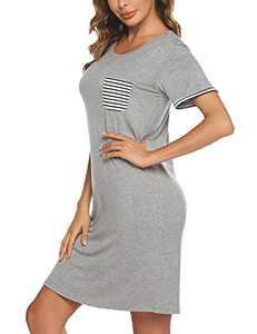 Evanhome Pjs Dress Women Short Sleeve Sleepwear Cotton Nightgown for Teens Cute Striped Pocket Sleeping Shirt Loungewear Nighty Gowns, Grey, XX-Large