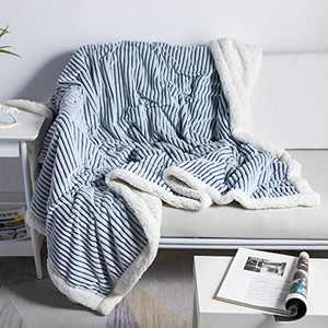 """DISSA Sherpa Fleece Blanket Throw Blanket Soft Blanket Plush Fluffy Blanket Warm Cozy with Blue and White Strip Perfect Throw for All Seasons for Couch Bed Sofa (Blue, 90""""x90"""")"""