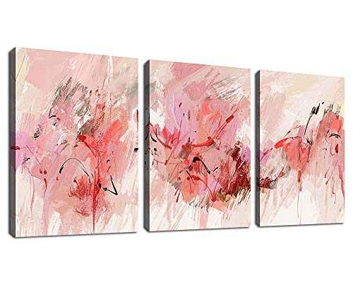 """tigeridge Abstract Wall Art Pink Canvas Pictures Abstract Contemporary Canvas Artwork for Girl Bedroom Living Room Bathroom Kitchen Office Home Wall Decor Framed Ready to Hang 12"""" x 16"""" 3 Pieces"""
