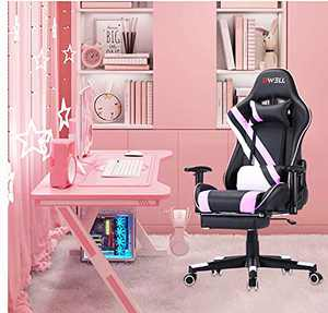 EDWELL Pink Gaming Chair,Computer Chair,Gaming Chair with footrest,Adjustable Gamer Chair with Headrest and Lumbar Support,PU Leather Gaming Chair for Adults,Ergonomic Design