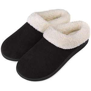 Women's Slippers Memory Foam House Shoes Fuzzy Fleece Collar Indoor Outdoor, Black, Size 5-6