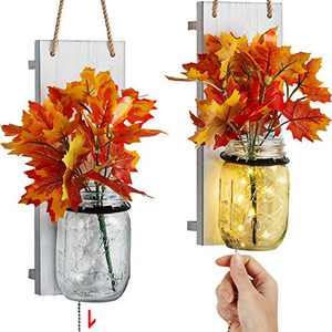 TJ.MOREE Mason Jar Wall Sconce for Wall Decor, Farmhouse Home Decor with Pull Chain Switch, Maple Leaf, LED Strip Lights Autumn Decor for Wedding Housewarming
