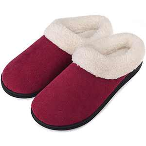 Women's Slippers Memory Foam House Shoes Fuzzy Fleece Collar Indoor Outdoor, Wine Red, Size 5-6