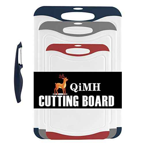 Qimh Oversized Cutting Board Set,4 Piece Plastic Kitchen Cutting Boards with Non-Slip Feet and Deep Drip Juice Groove,Large Thicker Boards,Dishwasher Safe,Juice Grooves,Easy Grip Handle (White)
