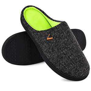 VONMAY Men's Slip On Slippers Two-Tone Memory Foam Warm House Shoes Lightweight Non-Slip Indoor Outdoor, Black, Size 11-12