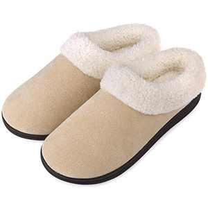 Women's Slippers Memory Foam House Shoes Fuzzy Fleece Collar Indoor Outdoor, Beige, Size 5-6