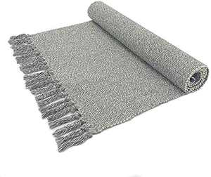 """Gray Hand Woven Rug Braided Rug 100% Cotton Rug with Tassels Kitchen/Living Room/Bedroom/Outdoor Doormat Machine Washable Rug (2' x 4'4"""", Light Gray)"""
