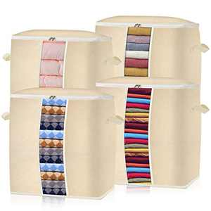 Foldable Storage Bags Organizer Containers 4-PACK Large Capacity Organizer Storage with Reinforced(3 Layer) Handle, Sturdy Zipper, Clear Window, for Comforters Blankets Bedding,Jumbo size Beige