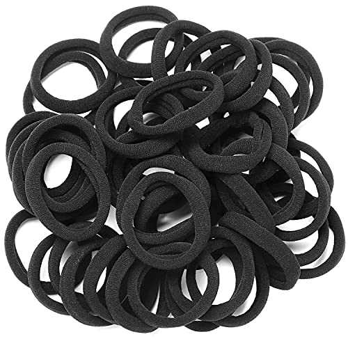 50 Pieces Hair Ties, WantGor Black Hair Elastic Bands Ponytail Holders for Women's Hair, 1.5 Inches