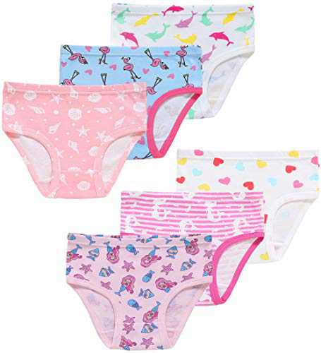 Christmas Little Girls Cotton Underwear Cute Breathable Comfort Dolphin Panties(Pack of 6) 2T
