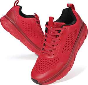 JOOMRA Men's Workout Shoes for Running Red Size 8 Fitness Walking Jogging Teens Boys Lightweight Mesh Man Gym Athletic Tennis Sneakers 41