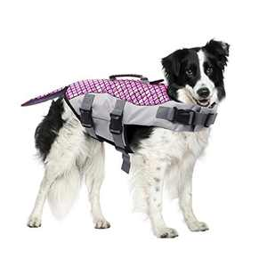 Dog Life Jacket Pet Floatation Vest, Pet Life Preserver with Strong Rescue Handle for Small Medium and Large Dogs, Adjustable Dog Pet Lifesaver Swimsuit for Water Safety at The Pool, Beach, Boating