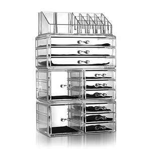4 Pcs Makeup Organizer Set,Plastic Cosmetic Jewelry Display Storage Rack Transparent